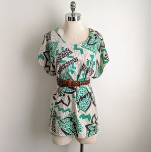 vintage 80's oversized graphic print tunic coverup